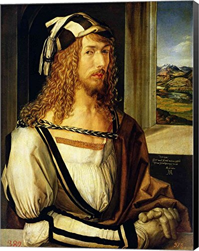 Self Portrait with Gloves, 1498 by Albrecht Durer Canvas Art Wall Picture, Museum Wrapped with Black Sides, 16 x 21 inches