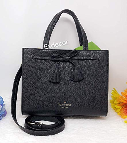 - Kate Spade New York Hayes Pebble Leather Small Satchel (BLACK)
