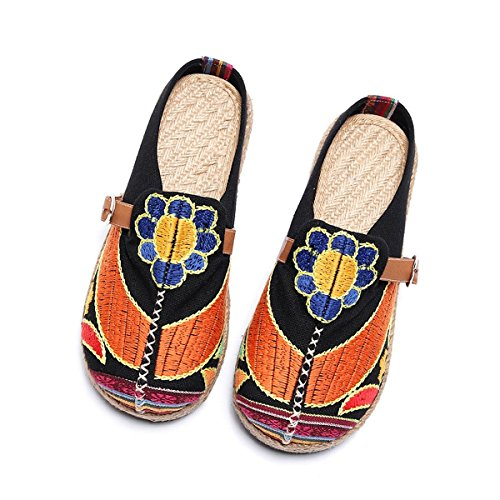 Tezoo Walking Slippers, Women's Colorful Breathable Embroidered Walking Outdoor House Slipers Black