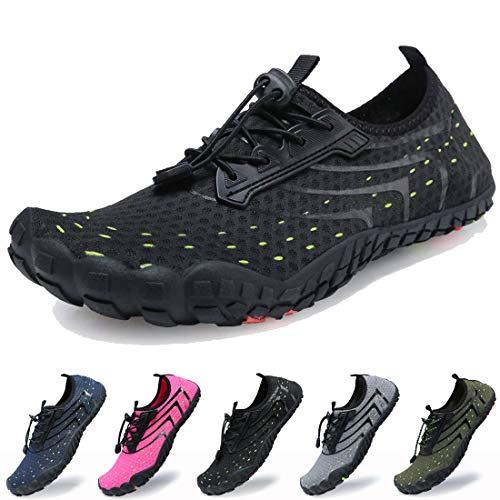 Dimerry Men Women Water Sport Shoes Quick-Dry Barefoot Solid Drainage Sole for Swim Diving Surf Beach Aqua Pool,7-7.5 US Women/6 US Men,Black