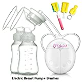 BTshine Breast Pump Double Electric - Breastfeeding Massager USB Suction Milk Pump Rechargeable, Hospital Grade for Mom's Comfort for Travel (A)