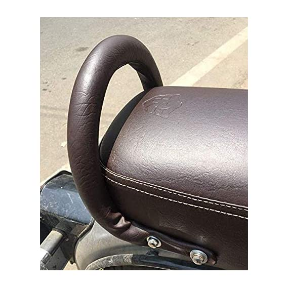 Aow Attractive Offer World Backrest Support Pillion Brown Cushion Back Rest Full Black Bar for Royal Enfield Models RE-32