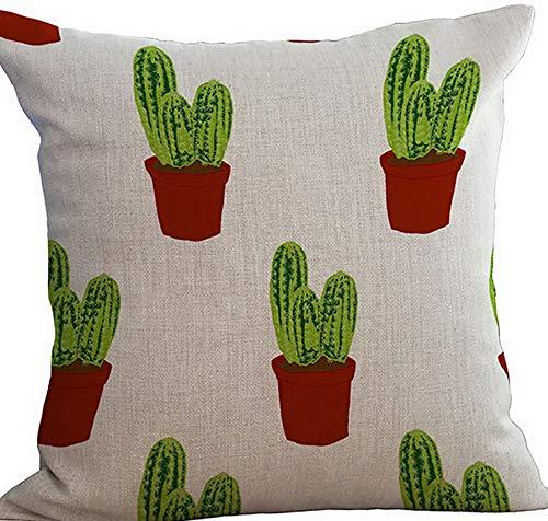 Kaputar Cactus Throw Pillow Insert Cotton Linen Stuffed Cushion | Model WDDNG -432 | with Filler -