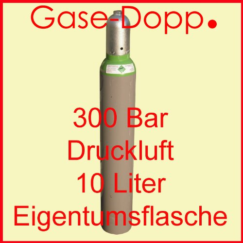Druckluft 10 Liter fabrikneue neutrale gefüllte Pressluft Eigentumsflasche 300 BAR - von Gase Dopp