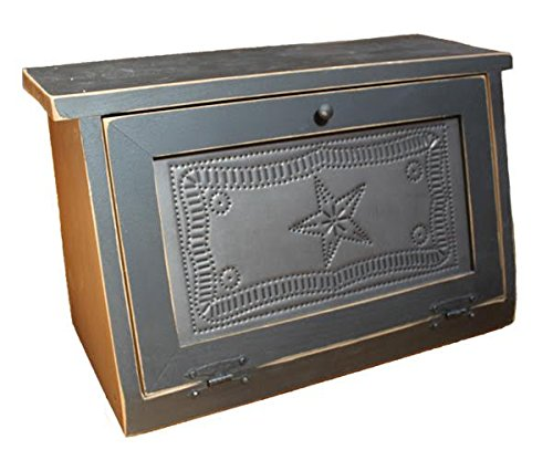 Rustic Wood Bread Box with Punched Tin Star & Border Design
