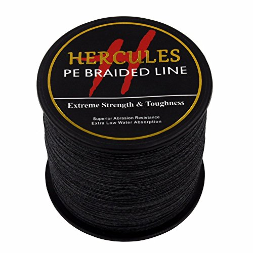 500m 547yds Black 6lbs-100lbs Hercules Pe Dyneema Braided Fishing Line 4 Strands (80lb/36.3kg 0.48mm) Braided Dacron Fishing Line