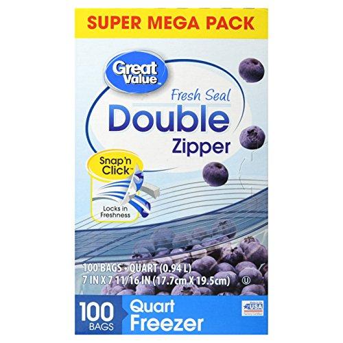 (Great Value Double Zipper Freezer Bags, Quart, 100 Count)