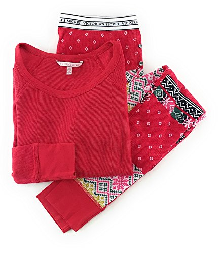 - Victoria's Secret Fireside Long Jane Thermal Pajama Set Red Boho Patchwork Medium