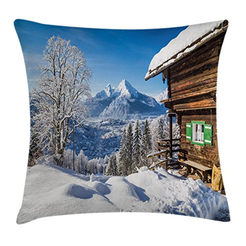 Winter Decor Throw Pillow Cushion Cover by Ambesonne, Snowy Wonderland Mountain Peaks with Wooden House Rural Idyllic Alps Scenery, Decorative Square Accent Pillow Case, 18 X18 Inches, White Brown