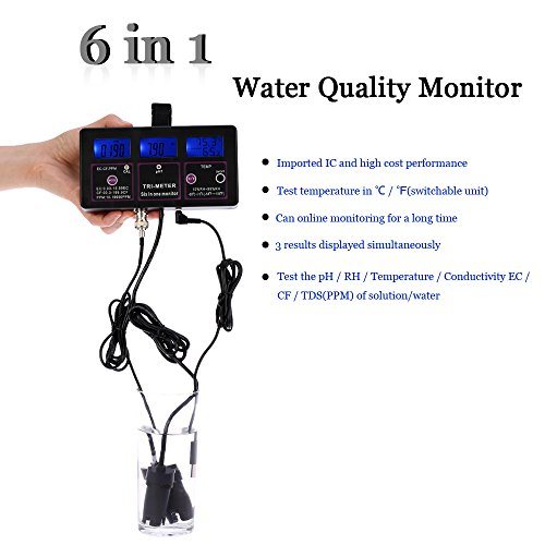 KKmoon 6in1 Multi-parameter Water Testing Meter Digital LCD Multi-function Water Quality Monitor pH / RH / EC / CF / TDS(PPM) / TEMP Multiparameter Water Quality Tester (E1597US) by KKmoon (Image #1)