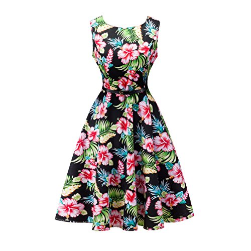 Yeokou Womens Sleeveless Floral Knee Length Cotton Hawaiian Flare Tank Dress (Large, Floral-01)]()