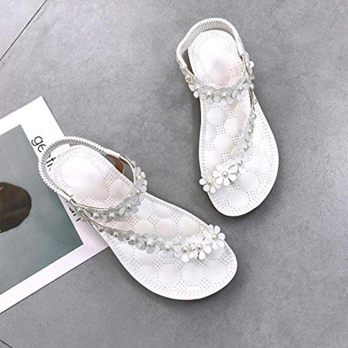 5 Punta Flat Donna Eleganti Flop Estate Sandali Sandalo Sandali Boemia Aperta Scarpe Sandali Fiore Sandali Flip Bianco Zeppa UOMOGO Donna Perline con q4w8xppg1