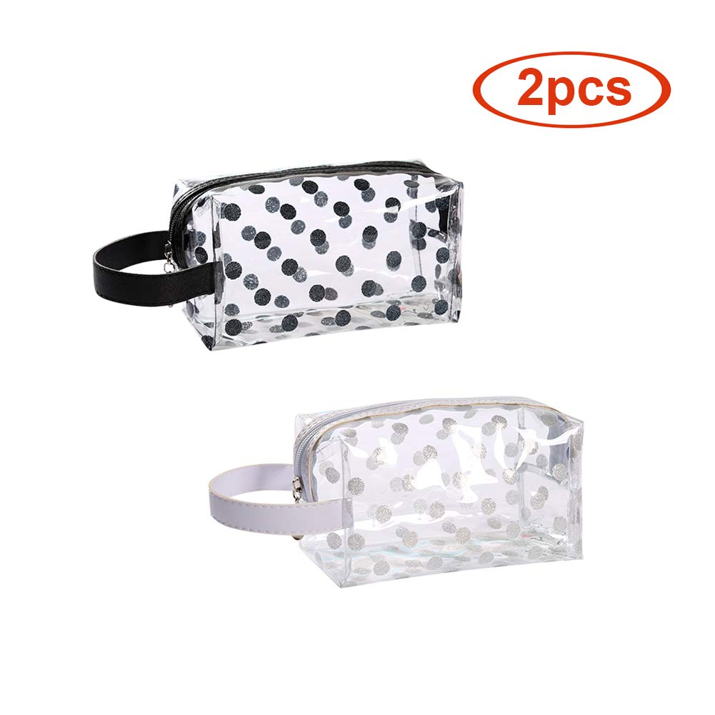 Clear Cosmetic Bags with Zipper PVC Makeup Bag Organizer Travel Toiletry Bags Pouch for Women (2Pcs Black&White Dots)