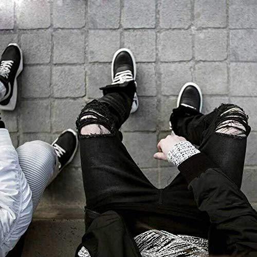 Distrutti Fit Strech Qk Pantaloni Denim Aderenti Casual Strappati Nero Uomo lannister Basic Ragazzo Fori Da Con Slim Vintage Jeans g6YgHq