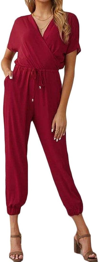 Mstyle Womens Plain V-Neck Short Sleeve Chiffon Jogger Pants Summer Jumpsuit