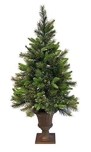 Vickerman 3.5' Pre-Lit Battery Operated Cashmere Potted Christmas Tree - Clear LED Lights (Pre Lit Potted Christmas Trees)