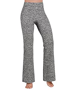 ODODOS Power Flex Boot Cut Yoga Pants Tummy Control Workout Running 4 Way Stretch Boot Leg Yoga Pantss With Hidden Pocket,GrayHearher,XX-Large