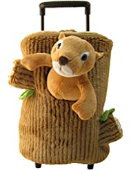 Squirrel Brown Kids Plush Animal Roller Backpack