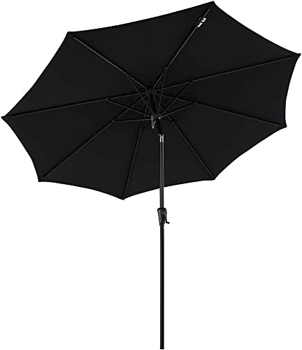 COBANA Patio Umbrella, Outdoor Table Umbrella of 9-Feet with 8 Ribs and Push Button Tilt and Crank, Black
