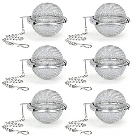 Tea Infuser EZOWare Set of 6 Stainless Steel Mesh Tea Filter - Perfect Strainer for Loose Leaf Tea