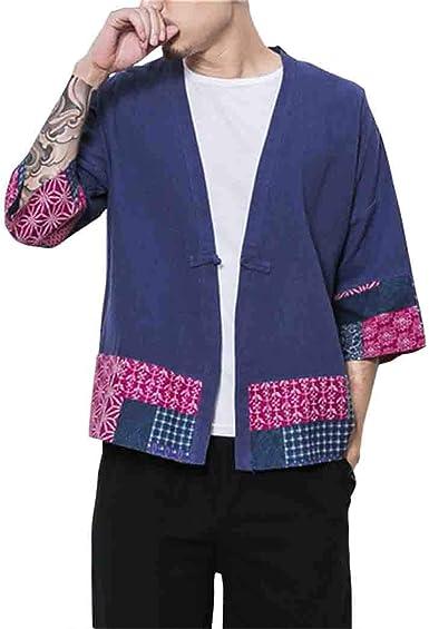 MISSMAOM_Fashion2019 Hombres Vintage Algodón Lino Poncho Cabo Abrigo Japonés Cardigan Colorblock Camisa Haori: Amazon.es: Ropa y accesorios