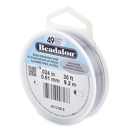 Beadalon 49-Strand Bead Stringing Wire, 0.024-Inch, Satin Silver, 30-Feet ()