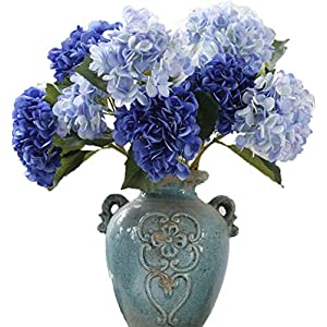 LNHOMY Artificial Silk Flowers French Fake Beautiful Hydrangea Bunch Bouquet Flower for Home Wedding Decor Pack of 4, Blue 2
