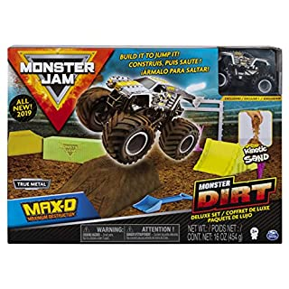Monster Jam, Max D Monster Dirt Deluxe Set, Featuring 16oz of Monster Dirt and Official 1:64 Scale Die-Cast Monster Jam Truck