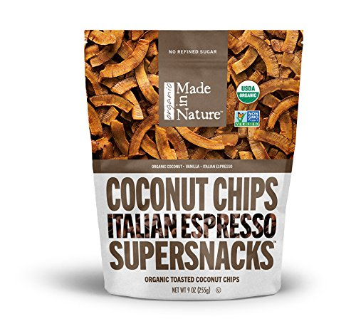 Made in Nature Italian Espresso Toasted Coconut Chips, 9 oz - Organic Coconut Dried Fruit Snack