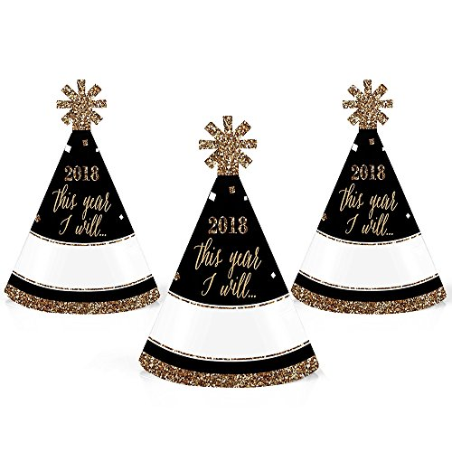 New Cone (New Year's Eve - Gold - Mini Cone 2018 New Years Eve Resolution Party Hats - Small Little Party Hats - Set of 10)