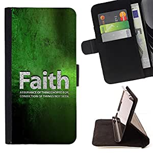 BullDog Case - FOR/Apple Iphone 4 / 4S / - / faith conviction hope green quote life /- Monedero de cuero de la PU Llevar cubierta de la caja con el ID Credit Card Slots Flip funda de cuer