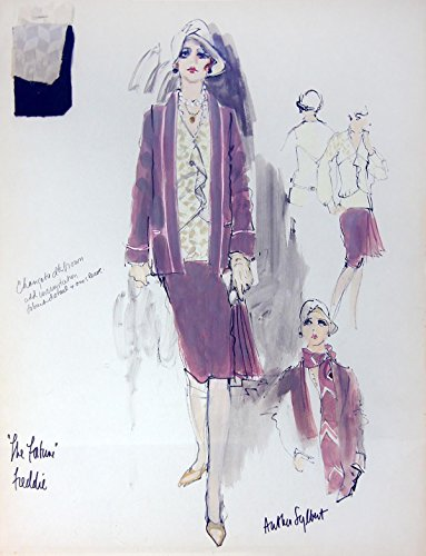 FORTUNE, THE (1975) Costume sketch art by Anthea Sylbert incl. signature