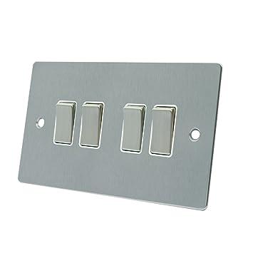 AET FSC4GSWIBS - Cuadro de 4 interruptores de Cromo Satinado con Interruptor de Metal, 2