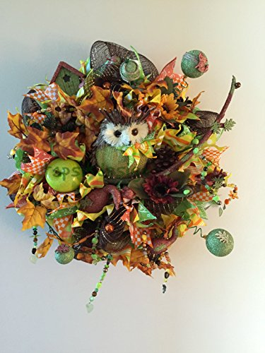 Colorfull Fall Wreath, Thanksgiving Wreath with Owl, Fall Decor, Deco Mesh Wreath, Home Decor, Fall Wall Decor, Front Door Wreath, Owl Decor