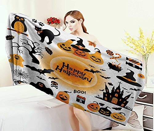 Anniutwo Halloween,Baby Bath Towel,All Hallows Day Objects Haunted House Owl Trick Treat Candy Black Cat,Print Wrap Towels,Orange Black Size: W 10