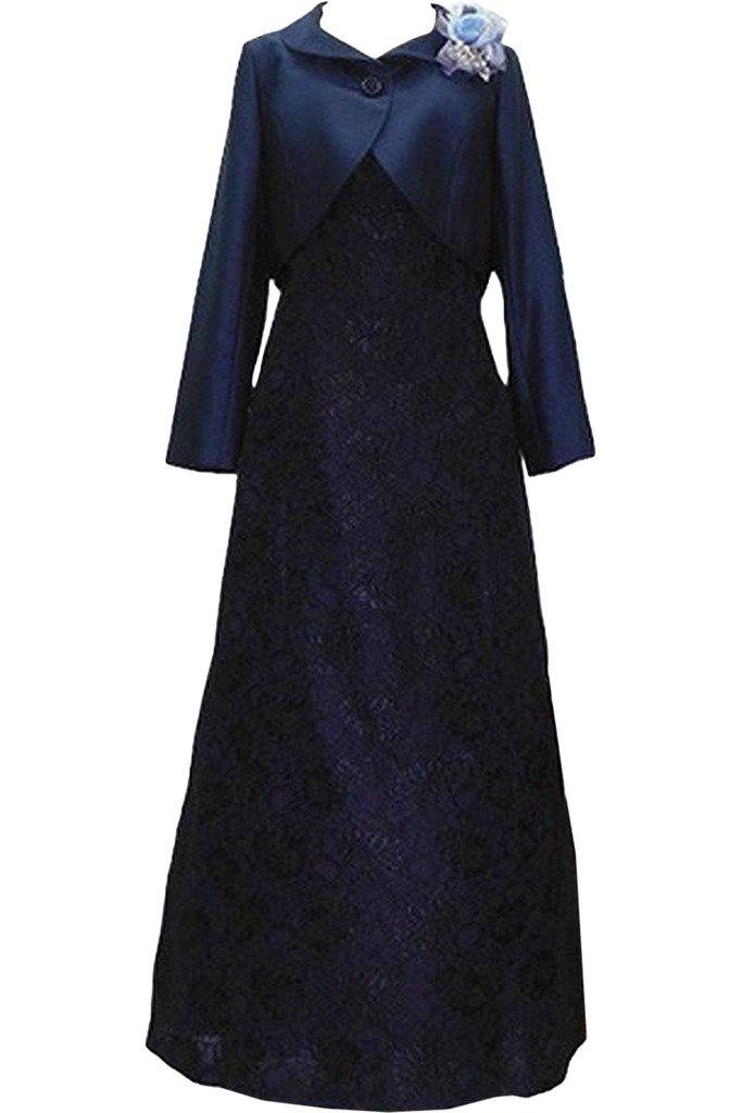 (ウィーン ブライド)Vienna Bride 披露宴用母親ドレス ママのドレス ロングドレス 新婦の母ドレス ボレロ 2ピースドレス 紺色 演奏会 発表会 パーティー お呼ばれ B01MQNNXGP 21W|ネイビー ネイビー 21W