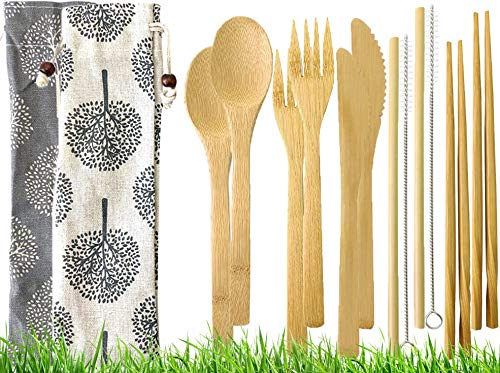 - Bambooster 2 set Eco Friendly Bamboo Cutlery Set 6 Piece Pack of Wooden Utensils with Reusable Bamboo Spoon, Fork, Knife, Chopsticks, Bamboo Straw and Reusable Straw Cleaner For Travel and Camping