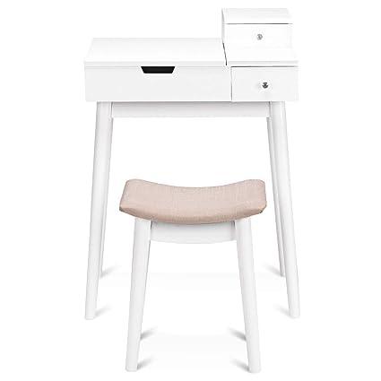 Amazon Com Nanapluz 23 5 White Mdf Flip Mirror Makeup Desk Vanity