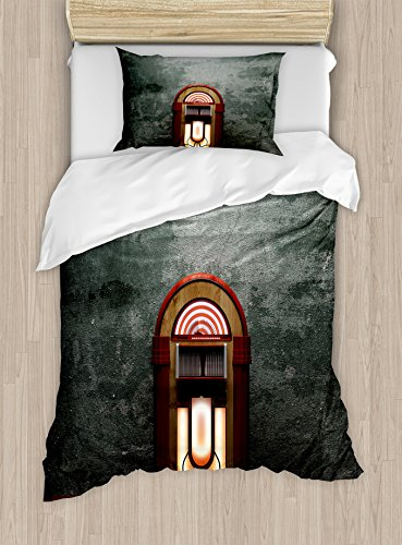 Ambesonne Jukebox Duvet Cover Set Twin Size, Scary Movie Theme Old Abandoned Home with Antique Old Music Box Image, Decorative 2 Piece Bedding Set with 1 Pillow Sham, Petrol Green and Brown by Ambesonne
