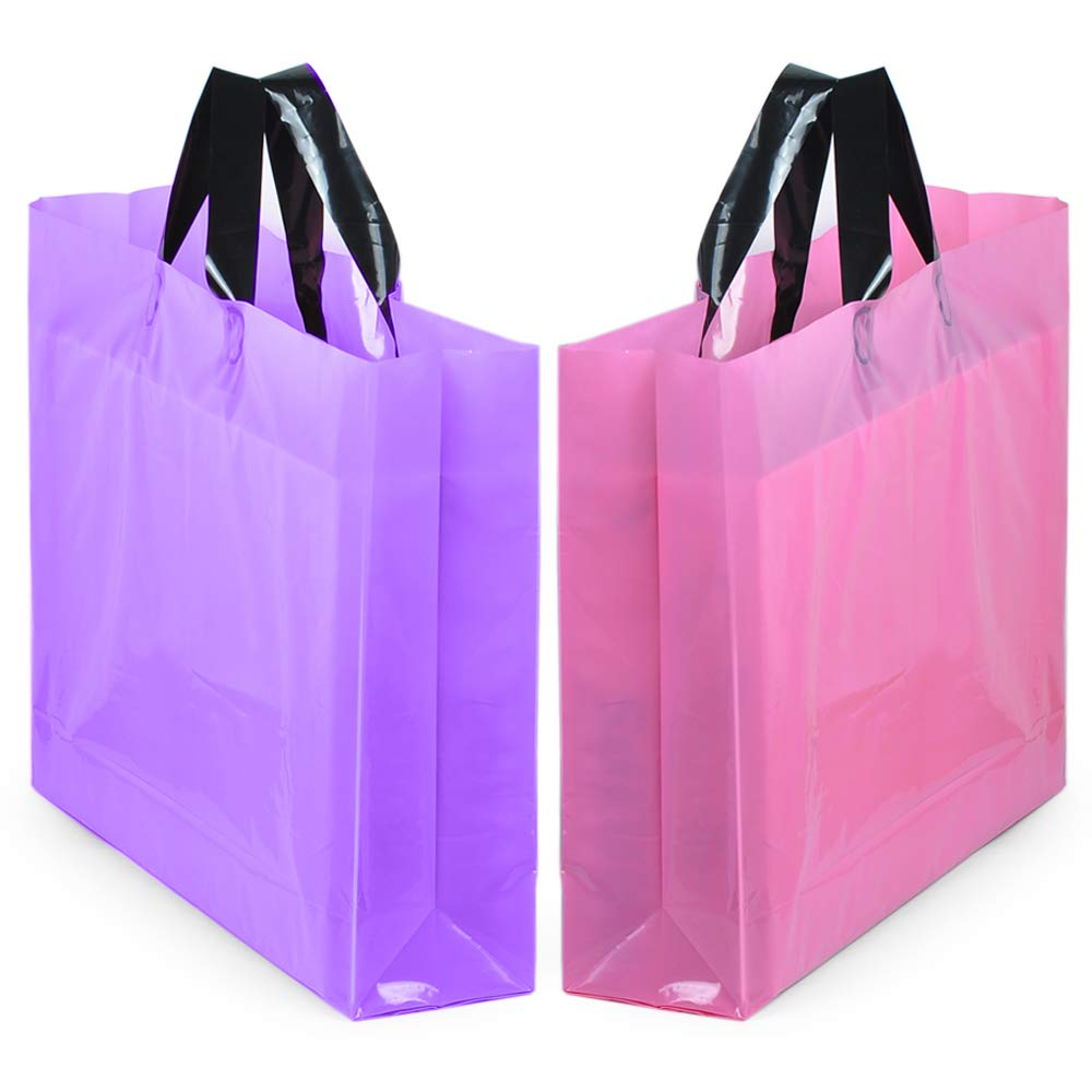 YookeeHome 14'' x 18'' Large Merchandise Bags with Handles with Bottom Gusset, Pink and Purple Thick Frosted Plastic Gift Bags Retail Clothing Shopping Bags, 50Pcs