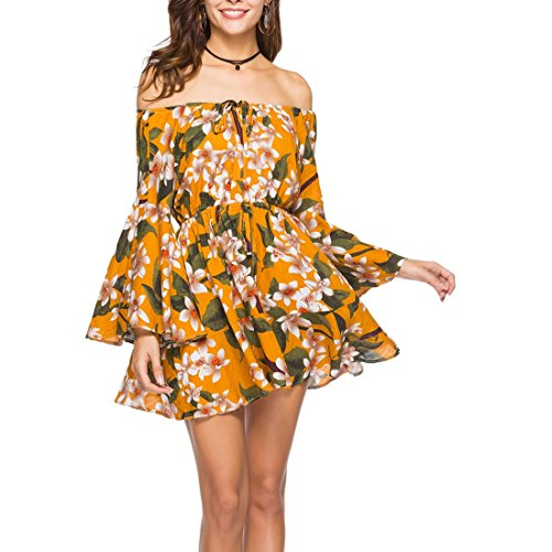 Ai Line No Dress A Mini New Swing Moichien Trumpet Short Dress Sun Floral Shoulder Summer Women 4 Off Sleeve Print rFrqw7U