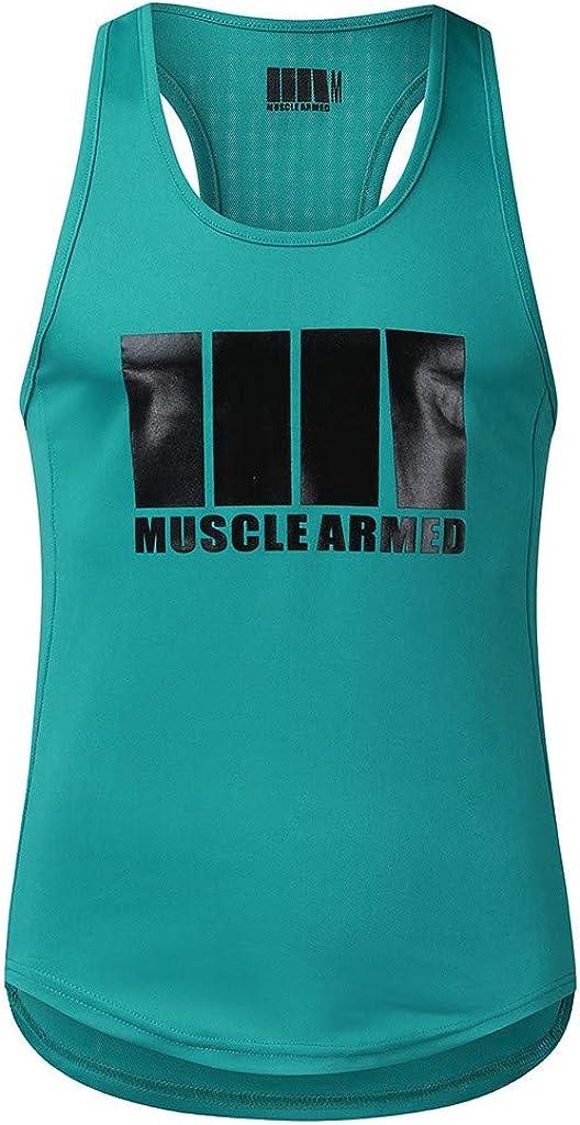 Camisetas Tops sin Mangas Basica Fitness Gym Camiseta Deportiva t-Shirt Camiseta de Tirantes Deporte Hombre