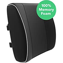 Vremi Premium Memory Foam Lumbar Support Pillow - Chair Cushion For Lower Back Pain - Best for Office Home Computer Gaming or Car Chair - With Adjustable Dual Straps - For Sleeping and Travel - Black