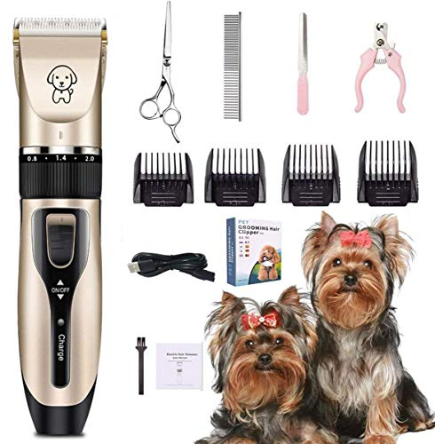 Aimtel Dog Clippers,Dog Grooming Clippers,Low Noise Pet Grooming Kit USB Rechargeable Pet Trimmer Kit Cordless Electric…