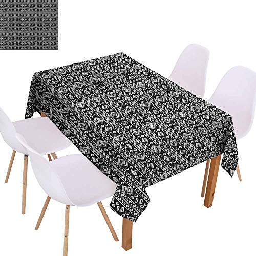 Charm Afghan Crochet - Marilec Fabric Dust-Proof Table Cover Afghan Monochrome Middle Eastern Folklore Motifs Timeless Pattern Oriental Illustration Party W70 xL84 Black White Great for Buffet Table
