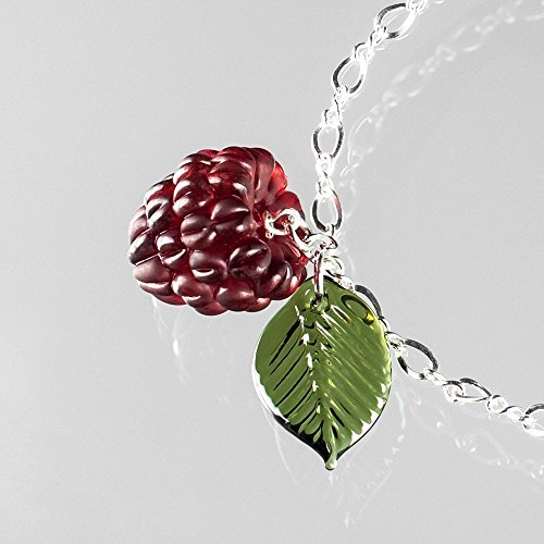 Glass Silver Leaf Sterling Charm (Miscarriage Glass Raspberry Bracelet with Green Leaves on Adjustable Sterling Silver Figure 8 Chain)