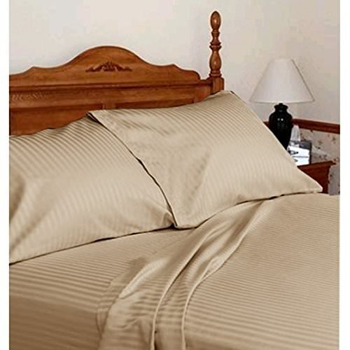 - Sheets Set 4 PCs - 100% Cotton - 400 TC -22 Inch Deep Pocket of Fitted Sheet Taupe Stripe, Queen and 23 Color.