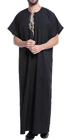 Spirio Mens Saudi Arab Short Sleeve Thobe Islamic Muslim Dubai Robe