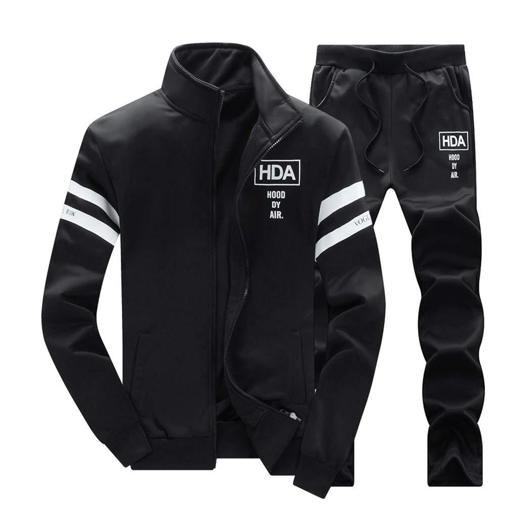 Men's 2 Two Piece Outfits Casual Track Suit Jacket+ Pants Jogger Set Black by xzbailisha
