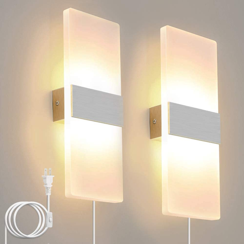 Bjour Modern Wall Sconce Plug In Wall Lights LED Acrylic Wall Mounted Lamp  8W Warm White for Bedroom Living Room, 8 Packs
